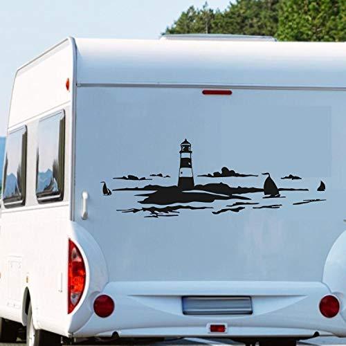 Pegatina Promotion Leuchtturm im Meer ca 160cm breit mit Segelbooten Wohnmobil Wohnwagen Aufkleber Womi Wowa