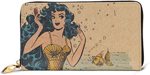 Damen Vintage Meerjungfrau Kunst Leder Geldbörse RFID-blockierender Reißverschluss um Geldbörse Echtes Leder Clutch Brieftasche Kartenhalter Reisegeldbörse Handgelenktasche