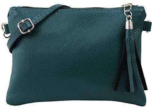 SH Leder Echtleder Umhängetasche Clutch kleine Tasche Abendtasche 22x15cm Anny G248 (Petrol)