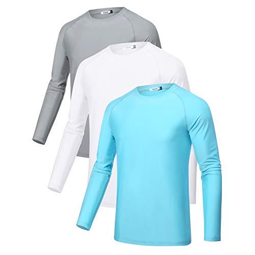 Sykooria 3 Piezas Camisetas Manga Larga Hombre Deporte UPF 50+ Protección Solar...