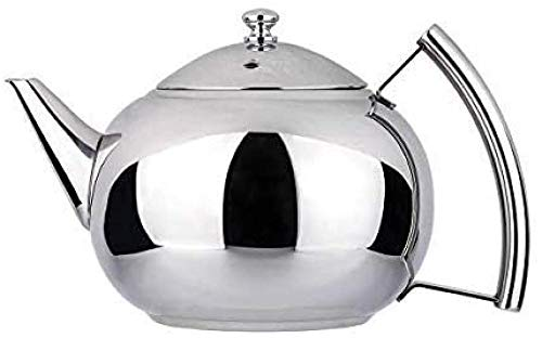 Home Coffee Filter Pot 2 Liter Tea Pot with Infuser for Loose Leaf Tea Stainless Steel Coffee Tea Kettle 8 Cup Induction Stovetop Teapot Strainer for Boiling Hot Water Mirror Finish Baifantastic