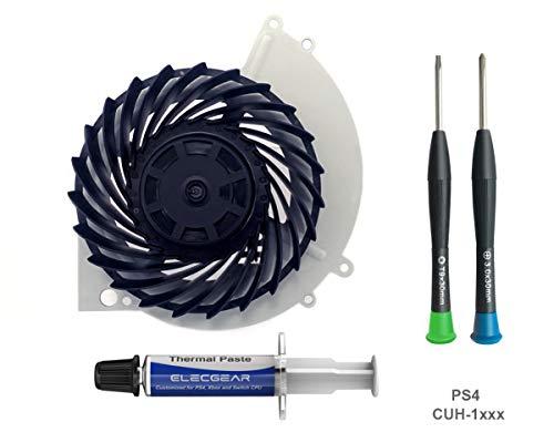 ElecGear Ventilador de Refrigeración para PS4 CUH-1xxx – Nidec Interno CPU Cooling Fan, Reemplazo de Enfriamiento, Pasta Térmica, Torx TR9 y PH1 Herramienta de reparación for Playstation 4