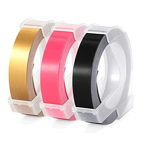 3D Nastro Etichette a Rilievo Aken compatibile in sostituzione di Dymo Etichette Autoadesive a Rilievo in Vinile 9 mm x 3 m, bianco su nero/oro/rosa, goffratura nastro per Dymo Junior Omega Motex E202