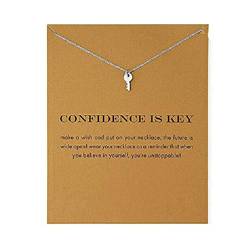 LANG XUAN Friendship Key Necklace Lucky Star Pearl Circle Pendant Necklace for Women Gift Card (Silver)