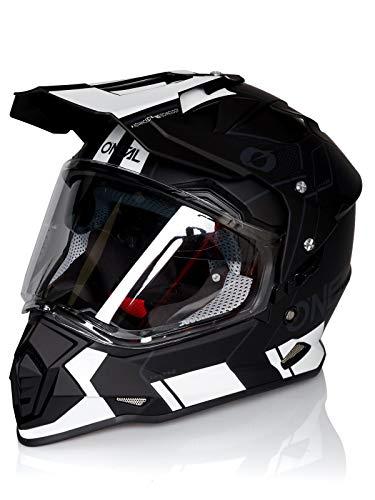 O'NEAL   Motorradhelm   Enduro   ABS Außenschale, mit Visier & integrierter Sonnenblende, Doppel-D Kinnriemen Sicherheitsverschluss   Sierra Helmet Comb   Erwachsene   Schwarz Weiß   Größe L