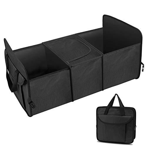 Auto Faltbox Kofferraumtasche Kofferraum Organizer Faltbare Autotasche, Faltkorb,Aufbewahrung Taschen, Klappbox Falttasche Einkaufstasche Box mit mehreren Fächern für Einkauf, Ordnung (Schwarz)