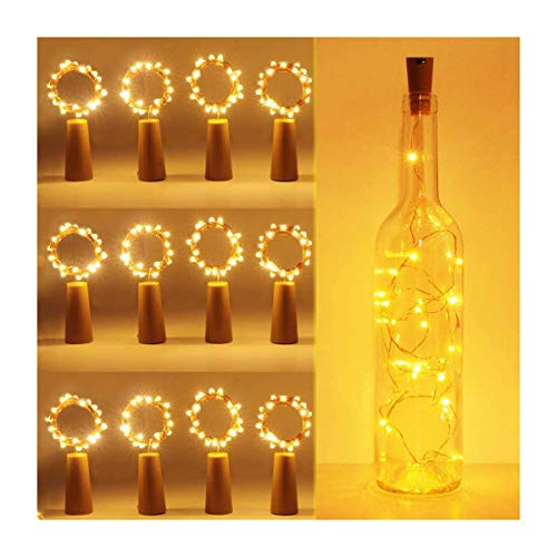 Bottle Lights with Cork, Yolovi 12 Pack 20 LED Copper Wire String Lights Battery Operated Starry Fairy String Led Lights for Wine Bottles DIY Christmas Wedding Party Decor Girls Bedroom