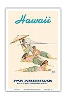 ハワイ - フラダンサー - パンアメリカン航空 - ビンテージな世界旅行のポスター によって作成された ノーマン・ロックウェル c.1956 - アートポスター - 31cm x 46cm