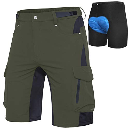 Cycorld Men's-MTB-Shorts-Mountain-Bike-Shorts Loose Fit Baggy Cycling Shorts with Removable Padding Liner (Green with Pad, M)