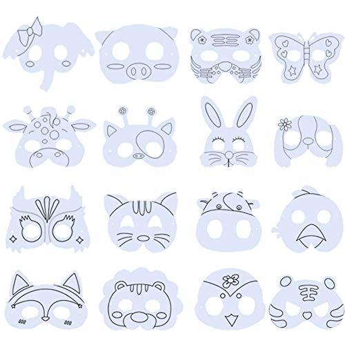 BESTZY Máscara Blanca para Pintar 16PCS Máscara de Bricolaje Caretas y Máscara de Animales Máscara de Arte para Niños para Decorar Fiesta Cumpleaños Juegos de rol Mascarillas