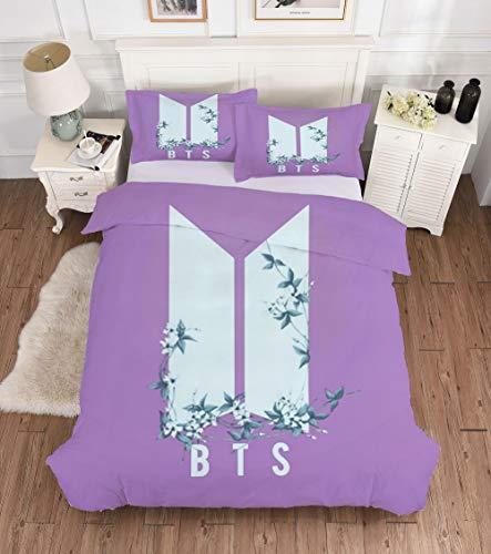 BTS Funda Nórdica BTS World Ost Funko Pop Púrpura con Logotipo De BTS Fundas De Almohada Algodón Estampado Floral Juego De Ropa De Cama Microfibra Suave Transpirable Funda Edredón,200×200cm