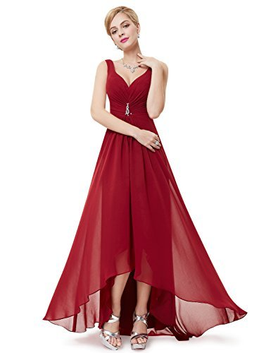 Ever-Pretty Juniors V-Neck Hi-Lo Evening Prom Gown 18 US Burgundy