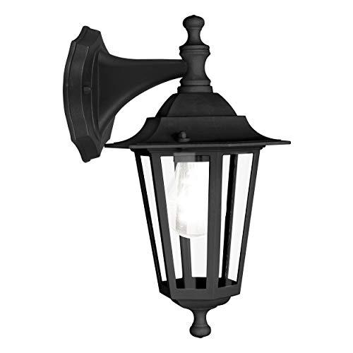 EGLO Außen-Wandlampe Laterna 4, 1 flammige Außenleuchte, Wandleuchte aus Aluguss und Glas, Farbe: Schwarz, Fassung: E27, IP44