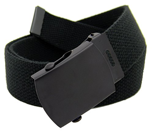 Men's Black Slider Military Belt Buckle with Canvas Web Belt XX-Large Black