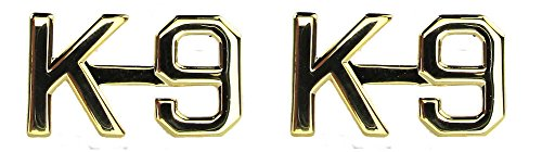 K-9 K9 Canine Unit Police Dog Officer Uniform Collar Pins Brass Insignia Gold Finish 1/2' Pair (2 Included!)