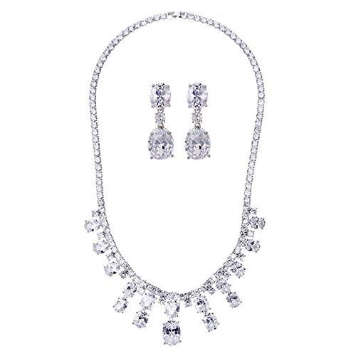 Beydodo Set de Joyas Mujer Ovalada Circonita Blanca Clip de Oreja
