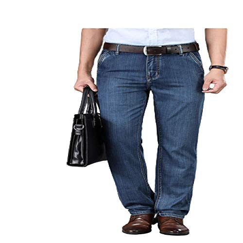 Men's Jeans Business Slim Trousers Loose Straight High Waist Casual Pants