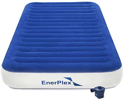 EnerPlex Never Leak Luxury Twin Size Air Mattress Twin Camping Airbed with High Speed Wireless Pump Single High Inflatable Blow Up Bed for Home Camping Travel 2-Year Warranty