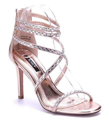 Schuhtempel24 Damen Schuhe Sandaletten Sandalen Bronze Stiletto Ziersteine 10 cm High Heels