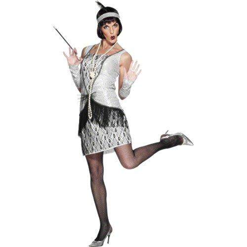 NET TOYS Costume de Charleston argenté S 36/38 - Costume années 20 - Robe Charleston - Robe féminine - Costume féminin