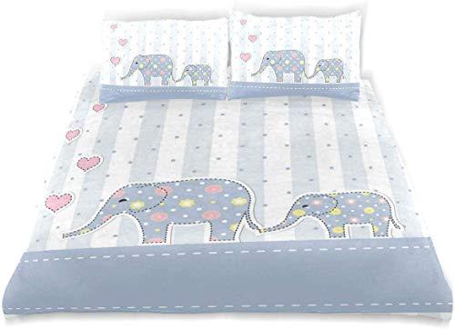 Duvet Cover Set Elephant Nursery Happy Newborn Print Decorative 3 Piece Bedding Set with 2 Pillow Shams