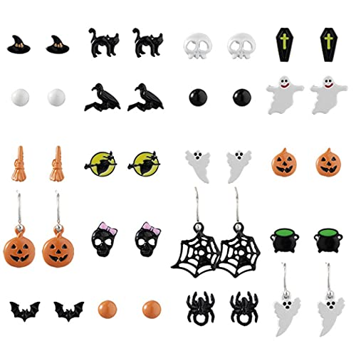 COSYOO Pendientes de Halloween divertidos, de moda, 20 pares, decorativos, personalizados, para señoras y niñas
