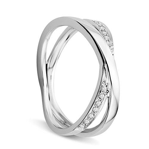 Orovi Anello Donna in Oro Bianco con Diamanti Taglio Brillante Ct 0.19 Oro 9 Kt / 375