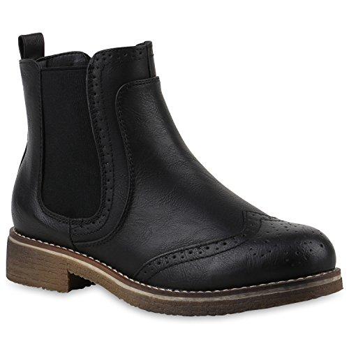 stiefelparadies Damen Stiefeletten Chelsea Boots Leicht Gefütterte Booties Leder-Optik Schuhe Profilsohle 145832 Schwarz Cabanas 38 Flandell