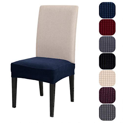 Fundas elásticas para asiento de silla, fundas de cojín para silla de escritorio, fundas para silla de comedor, 6 unidades, color azul oscuro