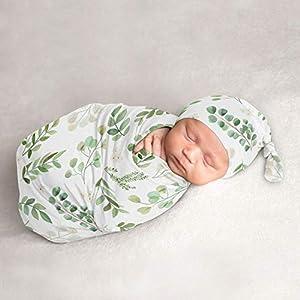 Sweet Jojo Designs Floral Leaf Baby Boy or Girl Cocoon and Beanie Hat 2pc Set Jersey Stretch Knit Sleeping Bag for Infant Newborn Nursery Sleep Wrap Sack – Green White Boho Botanical Woodland Garden