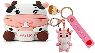 Cool Silicone Girly Pink Moo Cow Headphone Case Compatible with Airpods Pro and Airpod3 Headphones Funny Cover with Dog Ke...