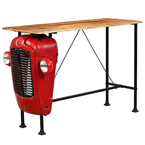 Festnight- Traktor Bartisch Stehtisch Mango-Massivholz Tischplatte Holztisch Küchenbartisch Rot 60 x 150 x 107 cm