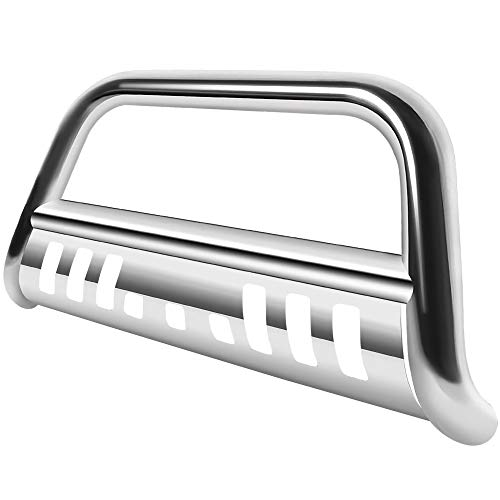 """AUTOSAVER88 Bull Bar Compatible for 2007-2021 Toyota Tundra/2008-2021 Sequoia, 3"""" Stainless Steel Tubing Brush Push Bar Front Bumper Grille Guard - Chrome"""