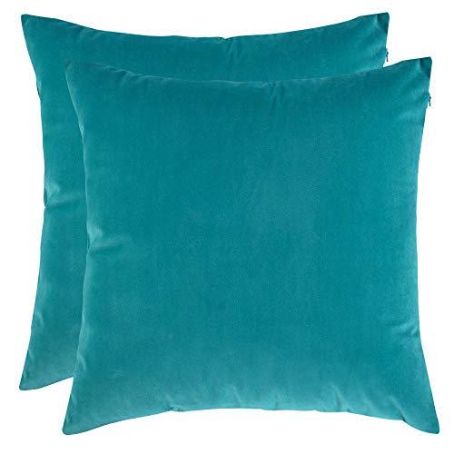 BlueCosto (2_Turchese Federe Cuscini Divano in Velluto Copricuscini Decorativi Fodere per Cuscino da Letto Casa Auto 45X45cm