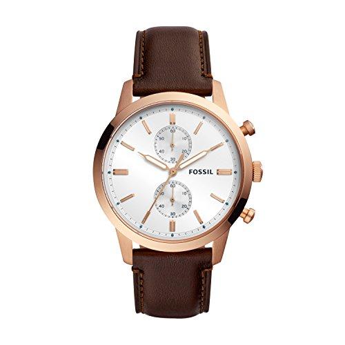 Fossil Herren Chronograph Quarz Uhr mit Leder Armband FS5468