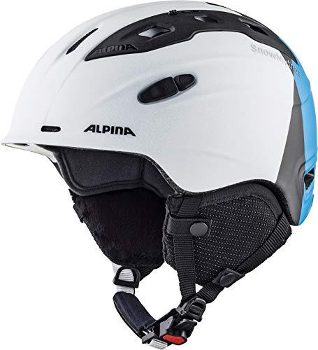 ALPINA Unisex - Erwachsene, SNOW MYTHOS Skihelm, white-silver-blue matt, 55-59 cm