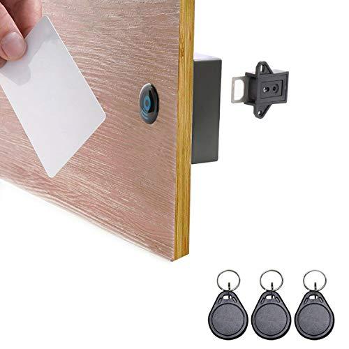 ETEKJOY RFID Electronic Cabinet Lock Hidden DIY for Wooden Cabinet Locker Drawer Cupboard (Black)
