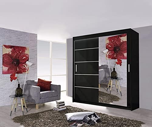Modern Lyon - Armario para puerta corredera de 2 y 3 espejos, 5 tamaños y 4 colores (180 cm), color negro