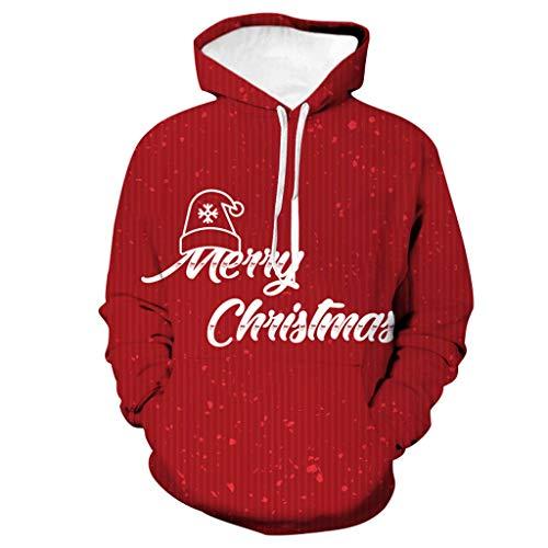 SANFASHION Herren Damen Unisex 3D Druck Sweatshirts Weihnachten Pullover mit Cartoon Aufdruck Kapuzenjacke Langarm Top Hoodie