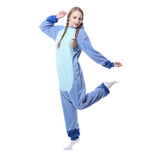 Unisex-Adult Onesie Pajamas Stitch Animal Sleepwear for Halloween Party Costumes,Daily Cartoon Outfit (Blue, L)
