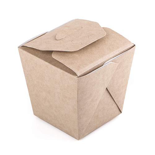 Paquete de 70 cajas de fideos de cartón Kraft 460 ml Contenedor de alimentos para llevar comida rápida desechable china, a prueba de fugas, biodegradable, ecológica, reciclable (70, 460 ml)
