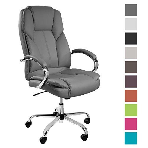 TPFLiving Premium XXL Bürostuhl Chefsessel Schreibtischstuhl DALLAS grau belastbar bis 215 kg hochwertig bequem Kunstleder Fixier- und Wippfunktion stabile Castor Rollen in 10 Farben wählbar