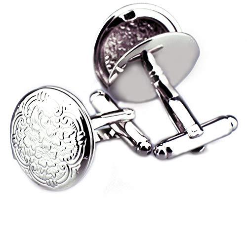 Epinki Manschettenknöpfe aus Kupfer, Fotoalbum Plum Blühen Design Klassiker Manschette Links Knöpfe für Männer Silber