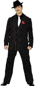 Smiffys Traje de los 40, Hombre, Incluye Chaqueta con Rosa en la Solapa, Pantalones, Pechera de Camisa y Corbata