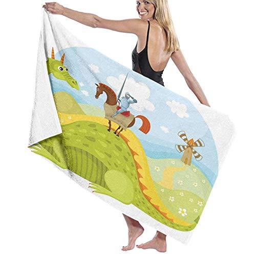 Grande Suave Toalla de Baño Manta,Caballero Don Quijote con Caballo en Dragon Valley Imagen de Cuento de Hadas Medieval,Hoja de Baño Toalla de Playa por la Familia Viaje Nadando Deportes,52' x 32'