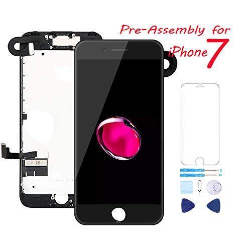 Full Assembly for iPhone 7 Screen Replacement 4.7 Inch LCD Touch Digitizer Display with Ear Speaker, Front Camera, Facing Proximity Sensor, Repair Tools A1660, A1778, A1779 (Black)