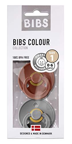 BIBS Schnuller Colour 2er Pack Größe 1 (0-6 Monate), Naturkautschuk, dänische Schnuller mit Kirschform (Rust/Smoke, Größe 1 (0-6 Monate))