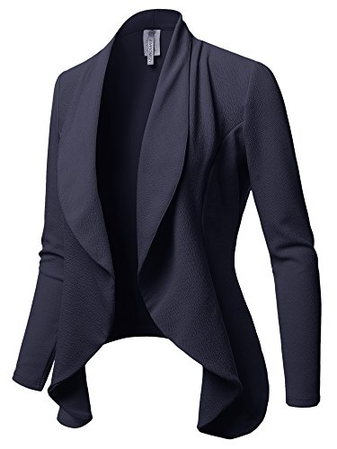 Formal Office Open Front Long Sleeves Blazer - Made in USA Navy M