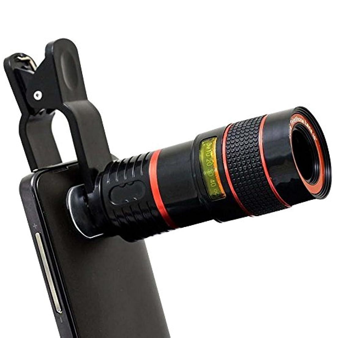 Ocamo 8X Zoom Magnifier Optical Telescope Camera Mobile Phone Lens with Clip Black
