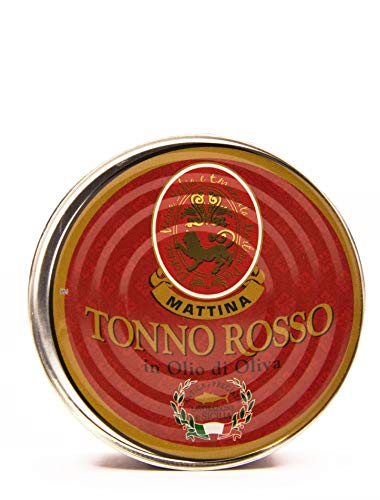 Mattina, Tonno Rosso del Mediterraneo in Olio di Oliva e Sale Marino di Trapani - Tonno in Scatola Pregiato Ricco di Omega 3, Lattina da 160 g - Lavorato a Mano in Sicilia